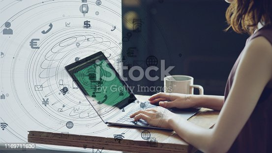 istock IoT (Internet of Things) concept. Communication network. 1169711630