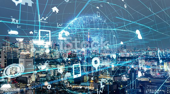 1019164310istockphoto IoT(Internet of Things) concept. ICT(Information Communication Technology). Smart city. 990122548