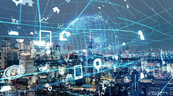 872670560 istock photo IoT(Internet of Things) concept. ICT(Information Communication Technology). Smart city. 990122548