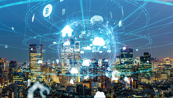 872670560 istock photo IoT(Internet of Things) concept. ICT(Information Communication Technology). Smart city. 990122584