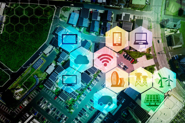 iot (internet of things) concept. - transportation icons stock photos and pictures