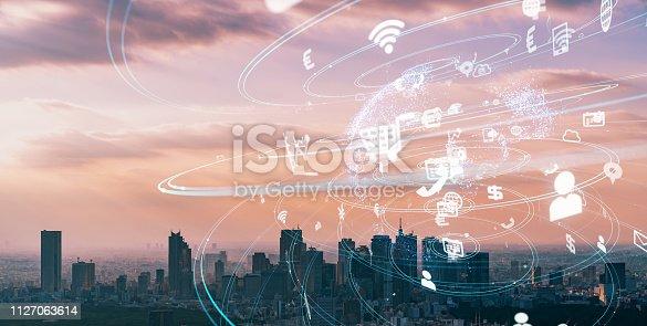 1129543876istockphoto IoT (Internet of Things) concept. Smart city. Wireless communication network. LPWA. 1127063614