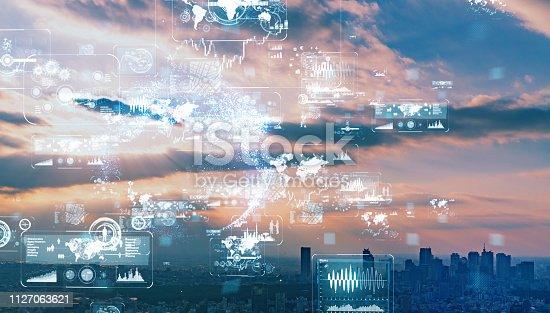 1129543876 istock photo IoT (Internet of Things) concept. Smart city. Wireless communication network. LPWA. 1127063621