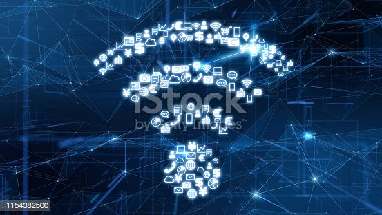 istock IoT (Internet of Things) concept. Wireless communication. 1154382500