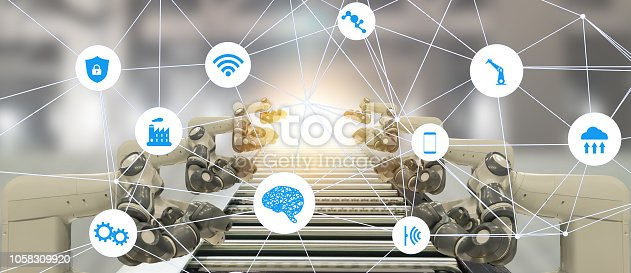 1022530836 istock photo iot industry 4.0 artificial intelligence technology concept.Smart factory using trending automation robotic Automotive manufacturing blockchain help to increase the product, efficiency , quality, 1058309920