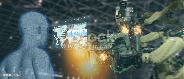 istock iot industry 4.0 concept,industrial engineer using artificial intelligence ai (augmented, virtual reality) to monitoring machine in real time.Smart factory use Automation robot arm in manufacturing 1033407740