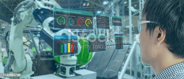 911693780 istock photo iot industry 4.0 concept,industrial engineer(blurred) using smart glasses with augmented mixed with virtual reality technology to monitoring machine in real time.Smart factory use Automation robot arm 1133584738