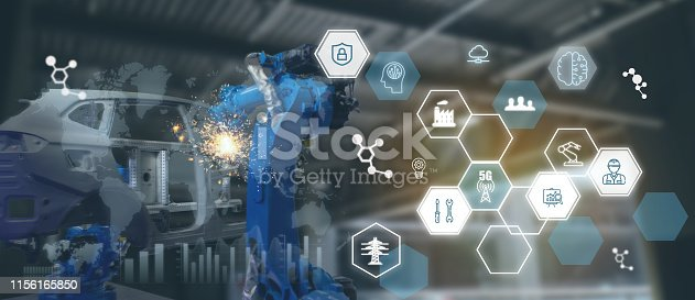 1022530836 istock photo iot industry 4.0 technology concept.Smart factory using trending automation robotic arms with part on conveyor belt in operation line. Automotive manufacturing use it for precision, Repetition, intens 1156165850