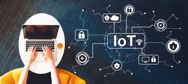 iot-sicherheit-thema mit person, die mit einem laptop - internet der dinge stock-fotos und bilder