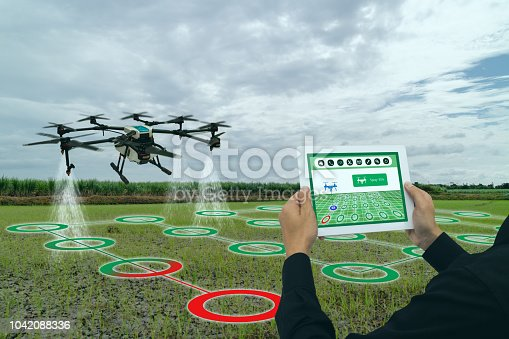898449496 istock photo iot smart agriculture industry 4.0 concept, drone (in precision farm) use for spray a water, fertilizer or chemical to the field, farm for growth a yields,crops, use for control, kill the bug or weed 1042088336