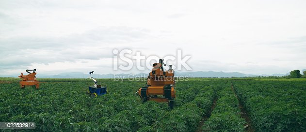 1127437312istockphoto iot smart agriculture industry 4.0 concept. Farmer use  robot to spot-spray selected weed species and use mechanical tools to remove other weeds species that are herbicide resistant 1022532914