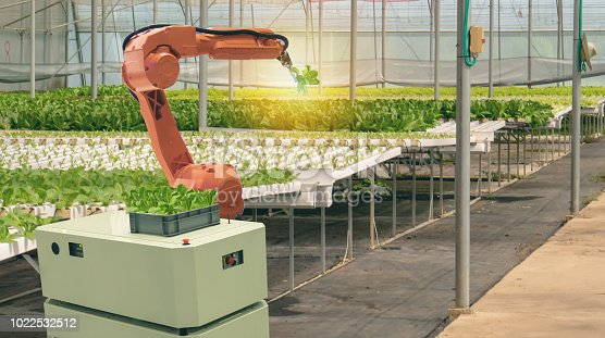 1022530858istockphoto iot smart agriculture industry 4.0 concept. smart robotic in agriculture futuristic , robot farmers (automation) programmed to work in the indoor farm for increase efficiency growing a seed,harvesting 1022532512