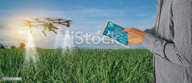 898449496 istock photo iot smart agriculture industry 4.0 concept,Farmer use  drone (in precision farm) use for spray a water, fertilizer or chemical to the field, farm for growth a yields,crops, use for control, kill the bug or weed 1022530860