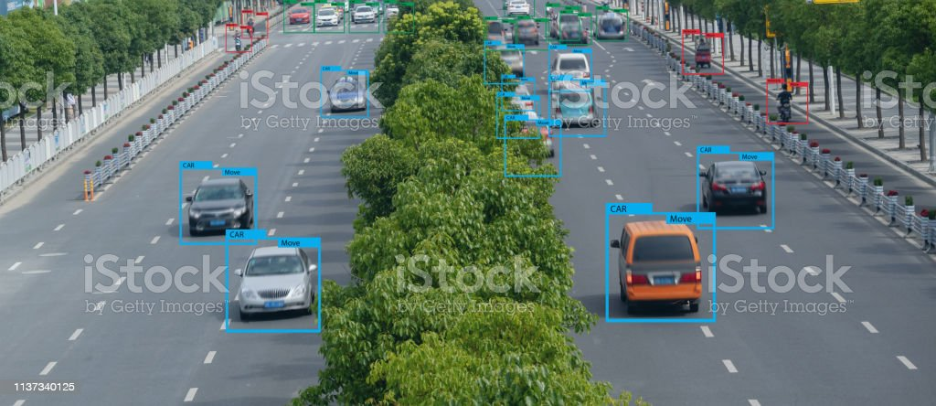 iot smart automotive Driverless car with artificial intelligence...