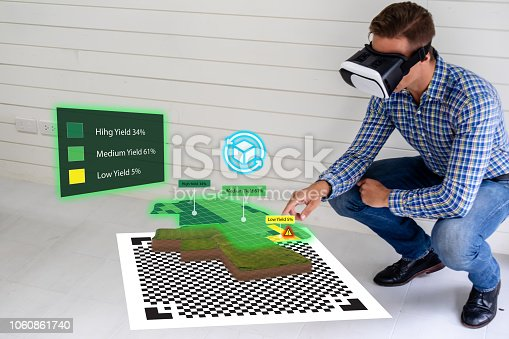 istock iot smart industry 4.0 agriculture concept,agronomist,farmer using smart glasses (augmented mixed virtual reality,artificial intelligence technology) to track, keep, collect about farm in 3d 1060861740