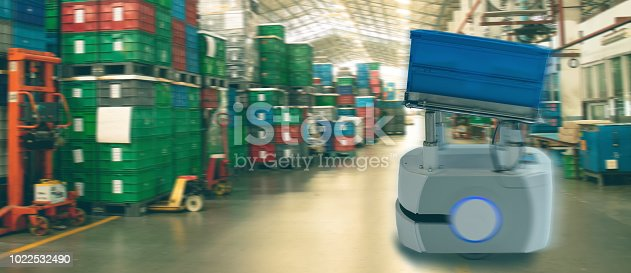 istock iot smart industry 4.0 concept. Automation industrial robotic sorting are able to identify the destination of a product through a code-scan and follow in line robot ,virtually eliminating mistakes. 1022532490
