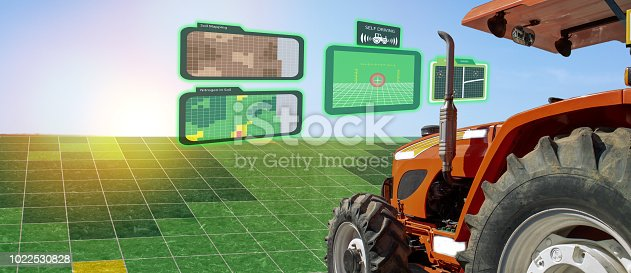 istock iot smart industry robot 4.0 agriculture concept,industrial agronomist,farmer using autonomous tractor with self driving technology , augmented mixed virtual reality to collect, access, analyze soil 1022530828