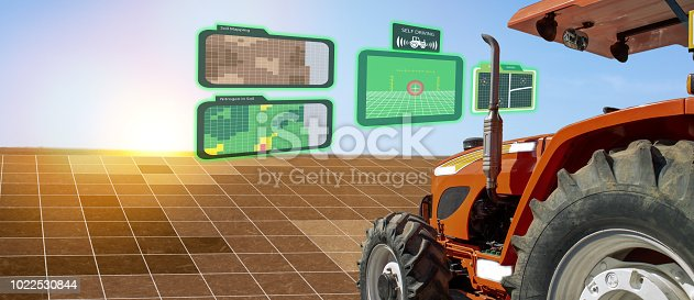 istock iot smart industry robot 4.0 agriculture concept,industrial agronomist,farmer using autonomous tractor with self driving technology , augmented mixed virtual reality to collect, access, analyze soil 1022530844