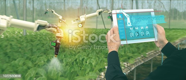 1022530858istockphoto iot smart industry robot 4.0 agriculture concept,industrial agronomist,farmer using software Artificial intelligence technology in tablet to monitoring condition and control automatic robotics in farm 1022530856