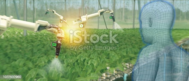 istock iot smart industry robot 4.0 agriculture concept,industrial agronomist,farmer using software Artificial intelligence technology to monitoring condition and control automatic robotics in farm 1022532960