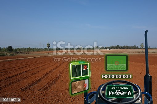 istock iot smart industry robot 4.0 agriculture concept,industrial agronomist,farmer using autonomous tractor with self driving technology , augmented mixed virtual reality to collect, access, analyze soil 905416710