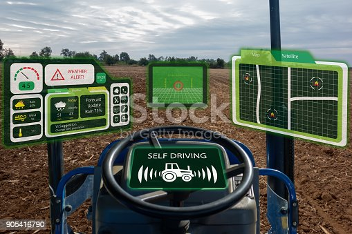 istock iot smart industry robot 4.0 agriculture concept,industrial agronomist,farmer using autonomous tractor with self driving technology , augmented mixed virtual reality to collect, access, analyze soil 905416790