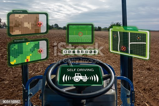 istock iot smart industry robot 4.0 agriculture concept,industrial agronomist,farmer using autonomous tractor with self driving technology , augmented mixed virtual reality to collect, access, analyze soil 905416882