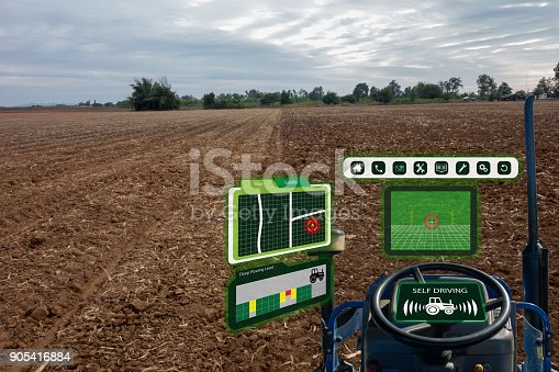 istock iot smart industry robot 4.0 agriculture concept,industrial agronomist,farmer using autonomous tractor with self driving technology , augmented mixed virtual reality to collect, access, analyze soil 905416884