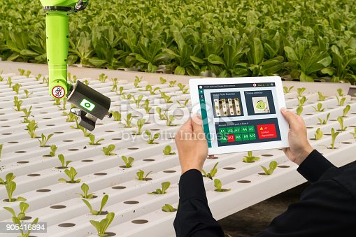 1022530858istockphoto iot smart industry robot 4.0 agriculture concept,industrial agronomist,farmer using software Artificial intelligence technology in tablet to monitoring condition and control automatic robotics in farm 905416894
