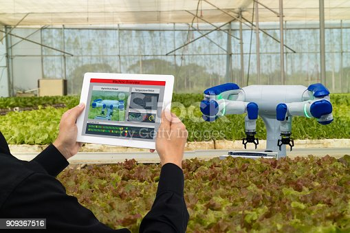 1022530858istockphoto iot smart industry robot 4.0 agriculture concept,industrial agronomist,farmer using software Artificial intelligence technology in tablet to monitoring condition and control automatic robotics in farm 909367516