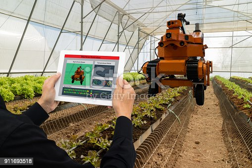 1022530858istockphoto iot smart industry robot 4.0 agriculture concept,industrial agronomist,farmer using software Artificial intelligence technology in tablet to monitoring condition and control automatic robotics in farm 911693518