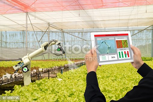 1022530858istockphoto iot smart industry robot 4.0 agriculture concept,industrial agronomist,farmer using software Artificial intelligence technology in tablet to monitoring condition and control automatic robotics in farm 911693790