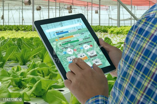 istock iot smart industry robot 4.0 agriculture concept,industrial agronomist,farmer using tablet to monitor, control the condition in vertical or indoor farm ,the data including Ph, Temp, Ic, humidity, co2 1142729510