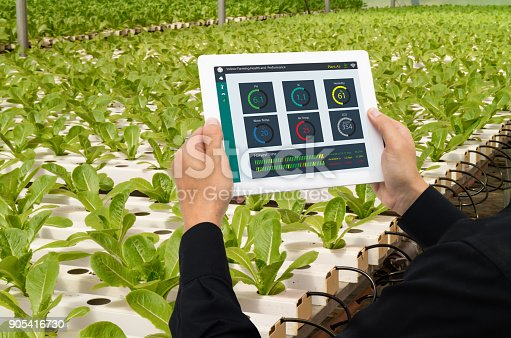 istock iot smart industry robot 4.0 agriculture concept,industrial agronomist,farmer using tablet to monitor, control the condition in vertical or indoor farm ,the data including Ph, Temp, Ic, humidity, co2 905416730