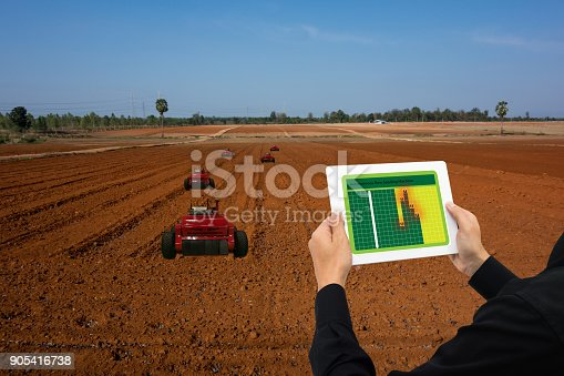 1022530858 istock photo iot smart industry robot 4.0 agriculture concept,industrial agronomist,farmer using tablet to monitor, control automation robotic for row seeding, spraying,weeding or increase more efficiency 905416738
