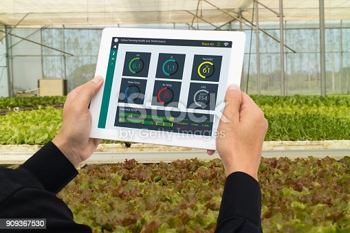 1047941544istockphoto iot smart industry robot 4.0 agriculture concept,industrial agronomist,farmer using tablet to monitor, control the condition in vertical or indoor farm ,the data including Ph, Temp, Ic, humidity, co2 909367530