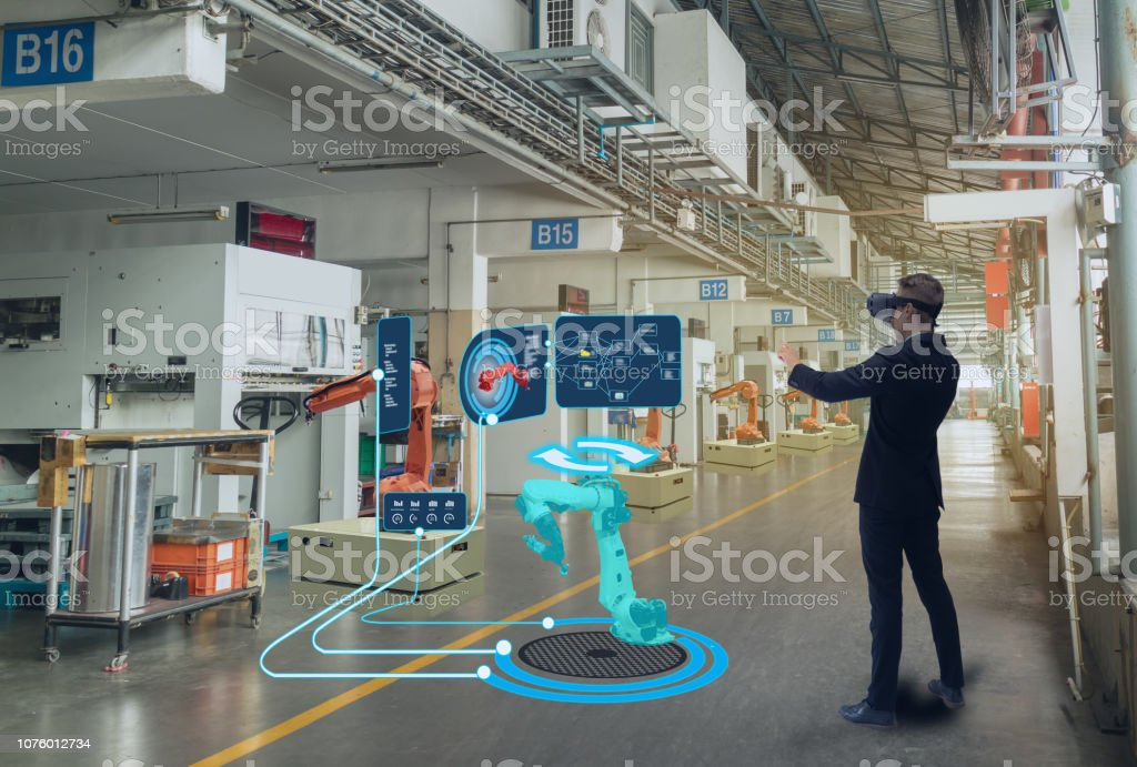iot smart technology futuristic in industry 4.0 concept, engineer use augmented mixed virtual reality to education and training, repairs and maintenance, sales, product and site design, and more. stock photo