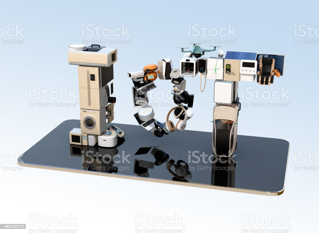 스마트 폰 스마트 기기에 의해 구성 된 IoT 텍스트 스톡 사진