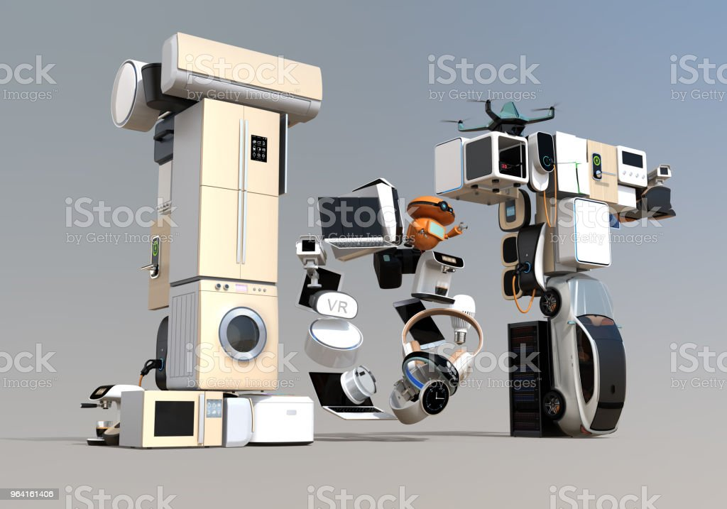 스마트 기기에 의해 구성 된 IoT 텍스트 스톡 사진