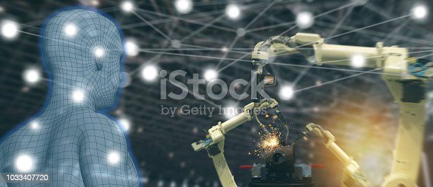 istock iot trend industry 4.0 concept,industrial engineer using artificial intelligence ai (augmented, virtual reality) with wire mesh to monitoring machine in real time.Smart factory use Automation robot 1033407720