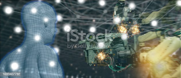istock iot trend industry 4.0 concept,industrial engineer using artificial intelligence ai (augmented, virtual reality) with wire mesh to monitoring machine in real time.Smart factory use Automation robot 1033407732