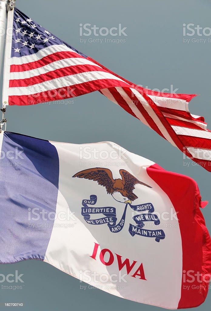 Iowa and American Flag stock photo