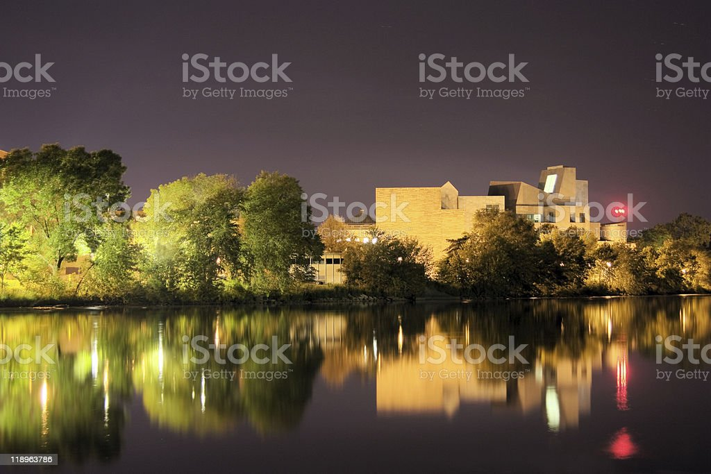 Iowa Campus Reflection on River stock photo