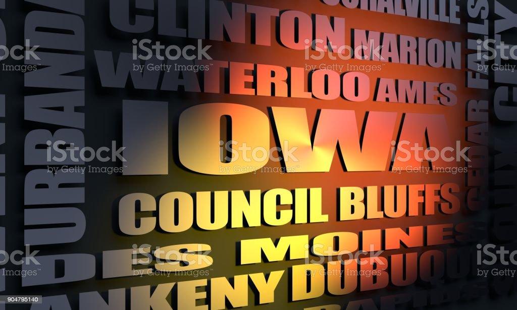 Iowa cities list stock photo