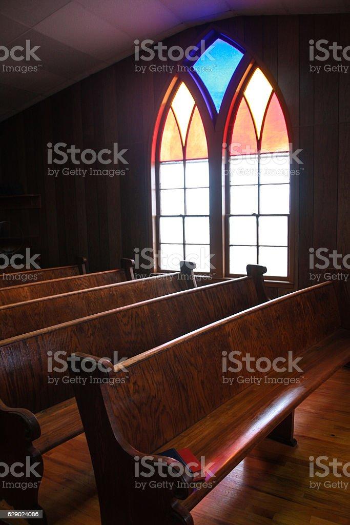 Iowa Country Church Stained Glass Window - foto de acervo
