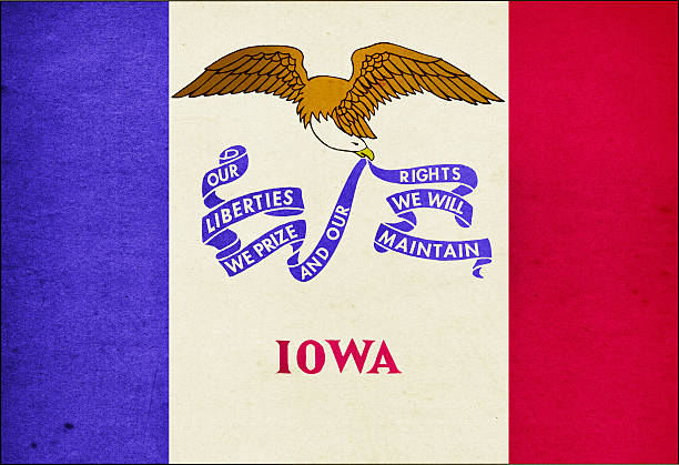 Iowa Flag Close-Up (High Resolution Image) stock photo