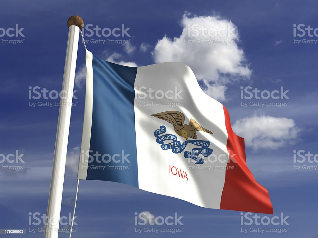 Iowa flag (with clipping path) stock photo