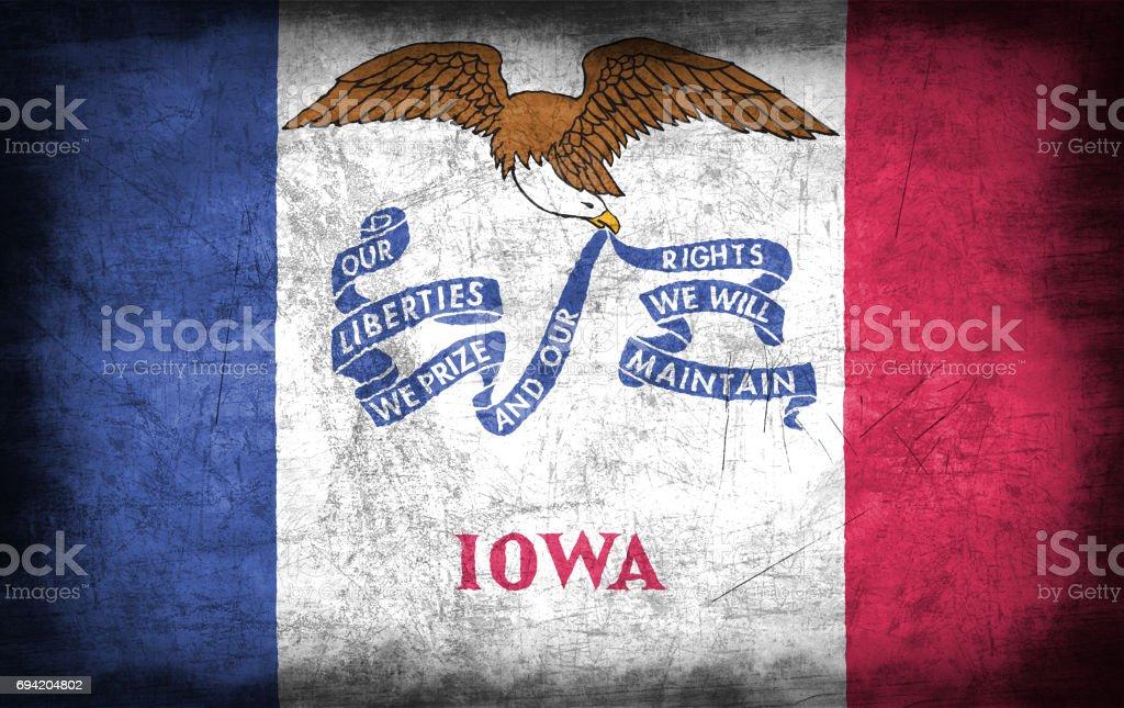 Iowa flag with grunge metal texture stock photo
