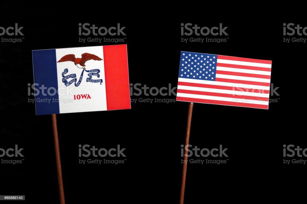 Iowa flag with USA flag isolated on black background stock photo