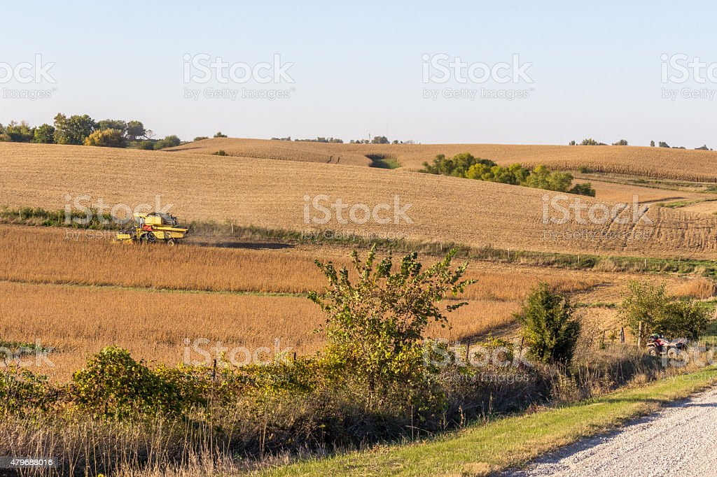 Iowa Landscape With Tractor stock photo